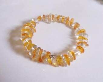 Amber bracelet and rock crystal