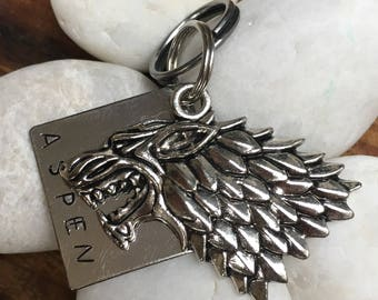 House Stark Pet ID Tag - Game of Thrones, Direwolf, House Stak, Hand Stamped Tag