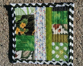 Mini square art quilt fabric scrap Funky Remnants quilted stitched