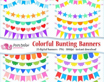 Colorful Bunting Banners Clipart. Digital rainbow banner clip art, rainbow bunting, colorful flags. Commercial-personal use Instant Download