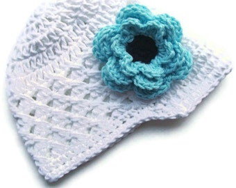 Baby Girl Hat, Crochet Baby Girl Hat, Crochet Visor Beanie Hat, Winter Hat, Summer Hat, Baby, White, Robins Egg Blue, Black, MADE TO ORDER