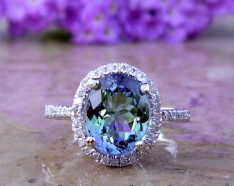 Tanzanite Engagement Ring | Tanzanite and Diamond Ring | 14kt, 18kt, or Platinum | Made To Order