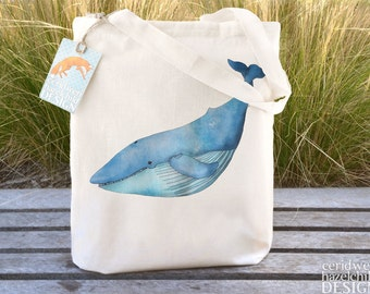 Blue Whale Tote Bag, Ethically Produced Reusable Shopper Bag, Cotton Tote, Shopping Bag, Eco Tote Bag, Reusable Grocery Bag, Stocking Filler