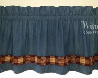 Americana Valance, American Flag Window Covering, Patriotic Curtains, Denim Valances