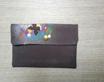 Handmade hand painted cotton clutch bag