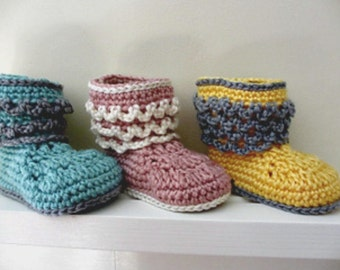 Ruffly Baby Boots - Crocheted Baby Booties - Winter Boots - Pink, Yellow, Blue