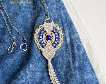 Macrame tassel, bohemian necklace, micro-macrame jewelry, beaded, layer, boho chic, minimalist, beige blue orange, holiday gift for her