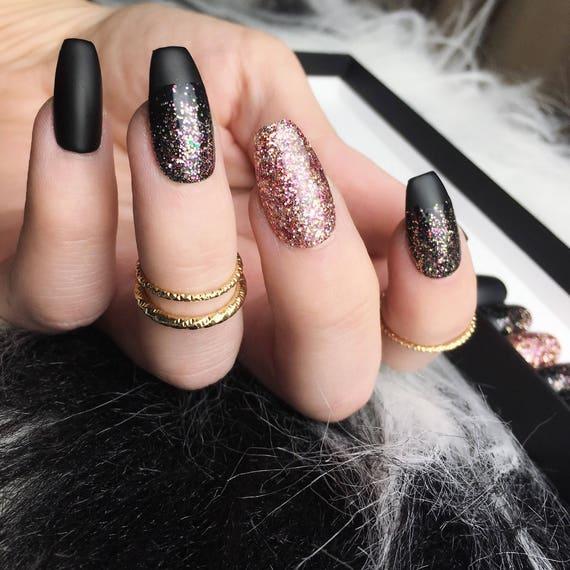 Black Rose Gold Glitter Press On Nails Matte Fake