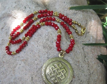 Eternal Knot Medallion Pendant on Red and Gold Beaded Necklace - Endless Knot Necklace - Red and Gold Necklace - Red Bohemian Necklace