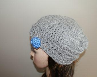 Gray Beret, Womens Winter Beanie, Autumn Fashion Hat, Wool Cloche Hat, Crochet Wool Beanie, Womens Tam, Womens Gray Beanie, Alpaca Woo