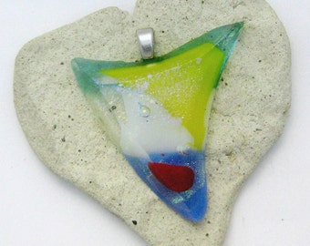Dichroic Colorful Fused Glass Beveled Pendant