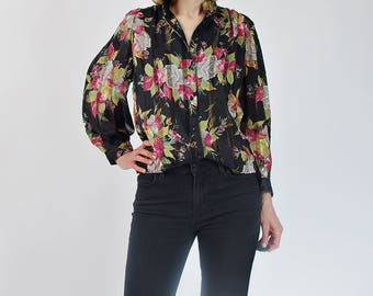 SALE 30% OFF 80s Chris JB women transparent floral shirt / size S/M