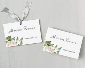 Printable Place Card Template | INSTANT DOWNLOAD | Ivory Botanical | Escort Card | for Word or Pages Mac & PC | Flat or Folded