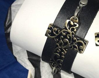 Brass Cross Cuff Bracelet