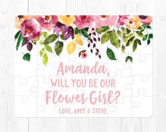 Will You Be My Flower Girl Gift Flower Girl Card Flower Girl Proposal Will You Be Our Flower Girl Puzzle Proposal Pink Yellow Purple Fun