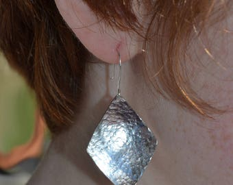 Sterling Silver Diamond Shaped Hammered Earrings