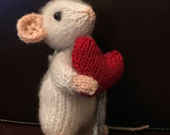 Hand knitted Valentine Mouse