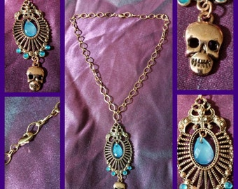 Copper Skeleton Necklace with Blue Charms