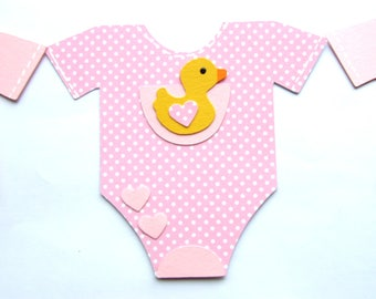 6 Cute Baby Vest Ready Made Card Making Toppers / Embellishments cute little ducks & hearts baby girl New Baby Showers cards crafts bunting