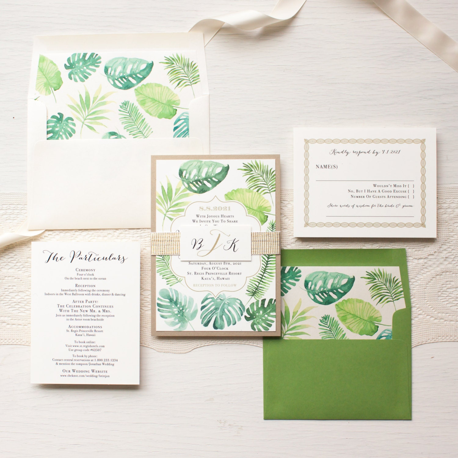 Tropical Floral Wedding Invitations Green Gold And White