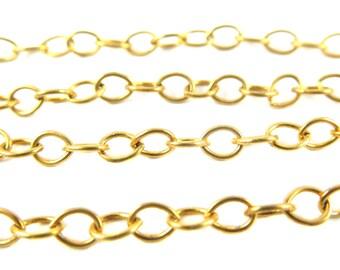 Vintage Orange Brass Cable Chain (6ft) (C667)