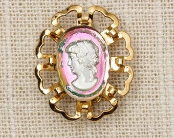 Gold Cameo Brooch Vintage Portrait Iridescent Broach Vtg Pin 7P