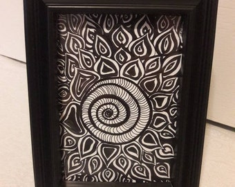 Framed Black & White Zen Art Flower 5x7-Watercolor/Ink