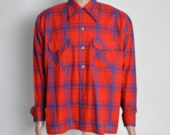 Vintage 1940s Shirt 40s Plaid XL Cotton Manhattan Looped Collar Flap Pocket