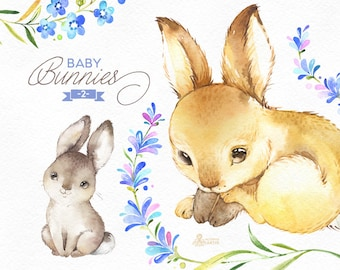 Baby Bunnies 2. Watercolor little animals and floral clipart, wreath, rabbit, frames, forest, cute, nice, country, nursery art, nature, png