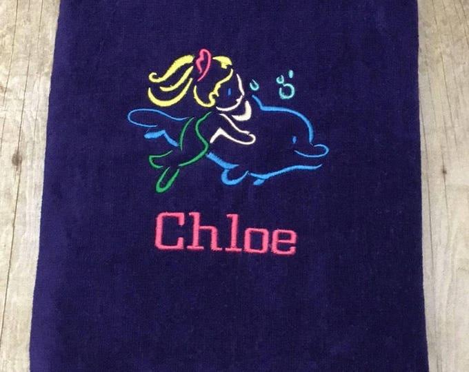 Mermaid beach towel, sea turtle beach towel, personalized beach towels, towels for kids and adults, monogram, beach towel, pool towel,