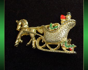 Horse with Sleigh Vintage Brooch Pin