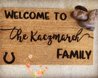 Custom Family Door Mat, Wedding gift, Housewarming gift, Home Decor Welcome Mat, Personalized