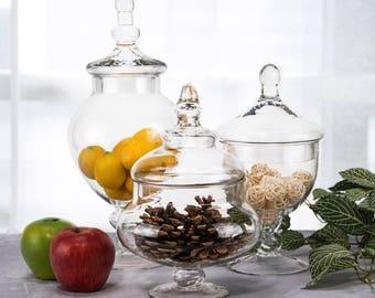 "Glass Apothecary Jars Set of 3, Candy Buffet Jars, Glass Jar with Lid, H-10"", 9.5"", 13.5"", #GAJ006111115"