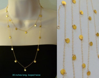 """Celebrity 48"""" Tiny Disc Long Gold Necklace, 48 inches, hollywood, modern, casual, formal, bridal, bridesmaids gift"""