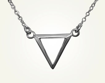 Triangle Necklace, Inverted Triangle, Silver Triangle Necklace, Pisces Necklace, Scorpio Necklace, Cancer Necklace, WATER ALCHEMY CHARM.