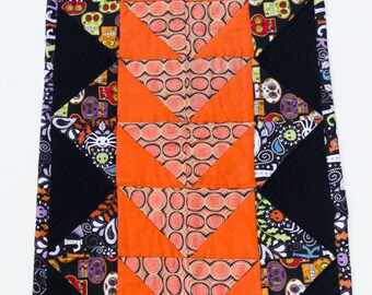 Quilted Halloween Table Decor, Sugar Skull Halloween Table Topper, Quilted Halloween Table Runner,