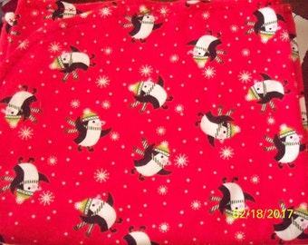 100% Cotton Flannel Baby Receiving Blanket with Penguins Accented with Red Embroidery