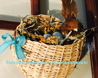 Easter Spring straw wall pocket Birds nest with eggs and dried flowers