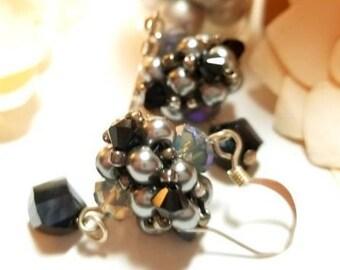 Black and Gray Bead Weave Dangle Earrings