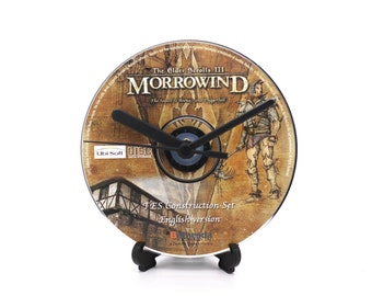 Morrowind The Elder Scrolls III PC Upcycled CD Clock Video Game Disc Gift Idea