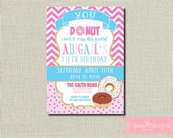 Donut Birthday Invitation, Donut Party Birthday Invitation, Donut Invitation, Pink Birthday Invitation, Digital Printable Invitation, Pink