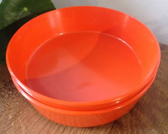 Two retro orange Encore Melamine dishes by Gaydon