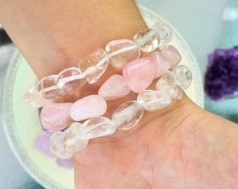 Mothers Day Bracelets, Healing Crystal Bracelet / Rose Quartz Bracelet / Clear Quartz Jewelry