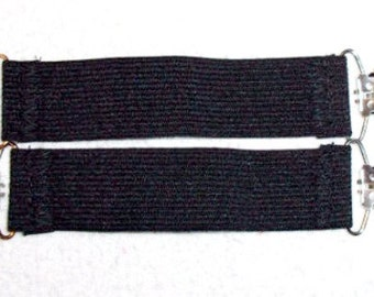 Black or White  No Roll Elastic 2 Boot / Pant Clips Guards Stirrups Strong Durable~ can be used as  Mitten Boot Blanket Suspender Guards