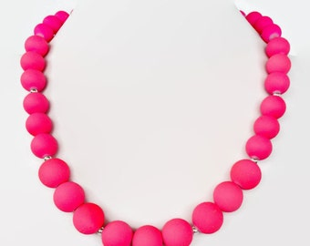 Neon Pink Jewelry Summer Time Necklace Trendy Summer Jewelry Summer Jewelry Neon Pink Necklace Neon Jewellery Neon Necklace Neon Pink