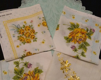 Five Vintage Hankies handkerchiefs Yellow Blue Floral Scalloped Embroidery