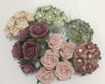 Variations Listing Mulberry Paper Flowers Baskets Scrapbooks Wedding Faux Cupcake Cards Dolls Crafts Roses Mix6/10-A1