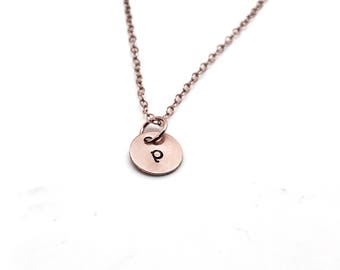 p Necklace, Rose Gold, Initial Necklace, All Letters Available, Hand Stamped Jewelry, Personalized Jewelry, Mother's Necklace, Custom