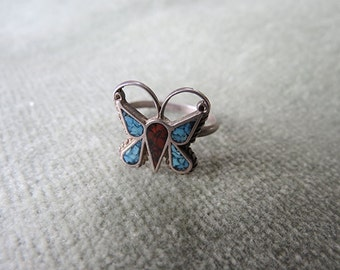 Native American Butterfly Ring / Turquoise, Silver and Coral