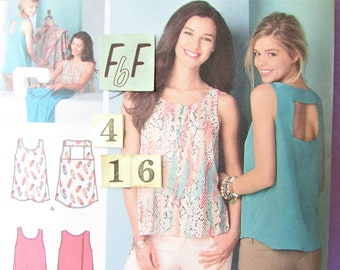 Loose, Open Back Summer Top Sewing Pattern/ Simplicity 1589 Womens Boho learn to sew tent top, UnCut/ Size 4 6 8 10 12 14 16